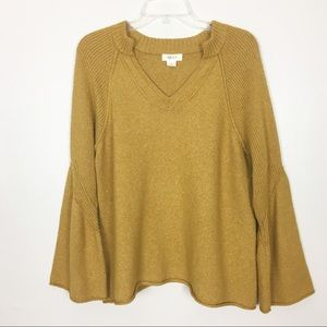 Style & Co Gold V Neck Long Bell Sleeve Sweater L